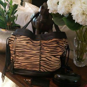 Vintage B Makowski Leather & Zebra Handbag
